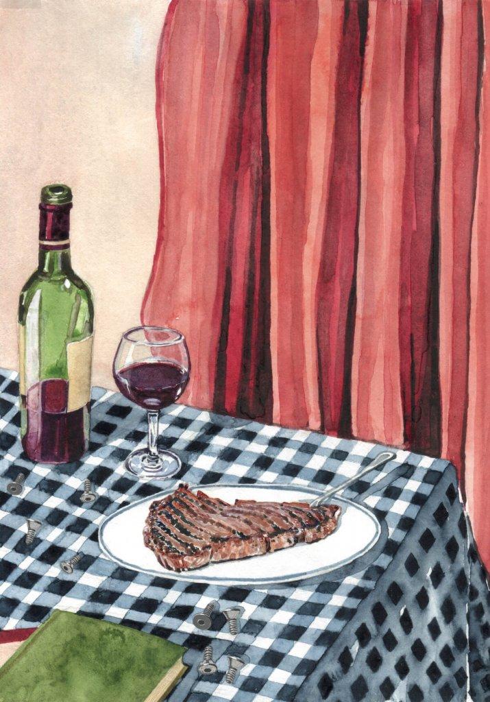 Czerwone wino i stek.
