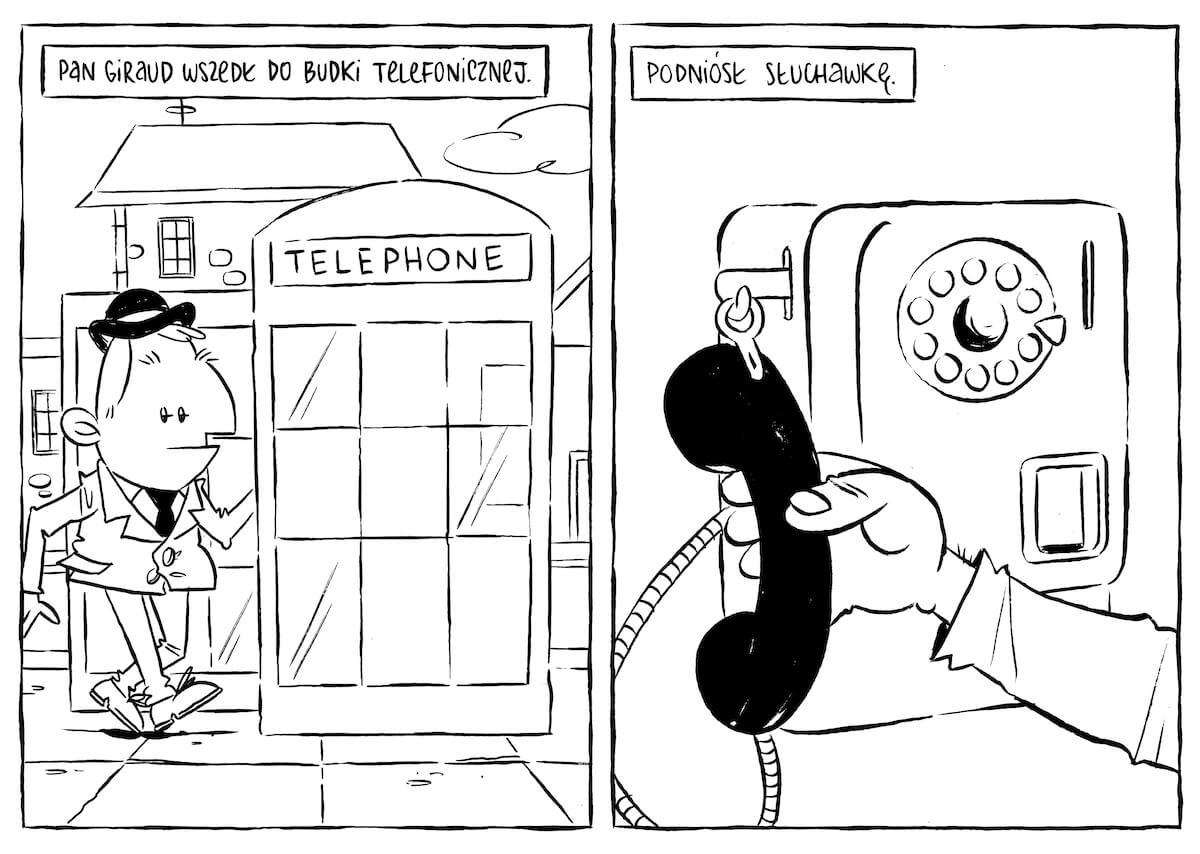 Mężczyzna wchodzi do budki telefonicznej i podnosi słuchawkę.