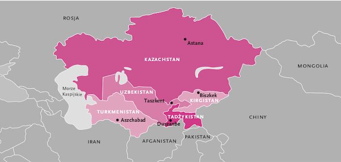 Mapa Azji centralnej.
