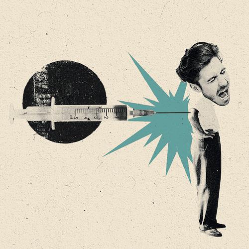Kolaż z mężczyzną i szczepionką