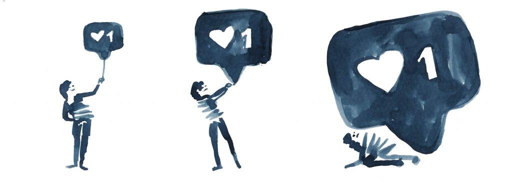 Powiadomienie o polubieniu przygniata człowieka.