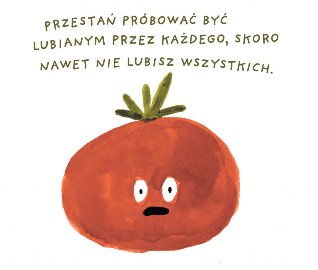 Żart rysunkowy z pomidorem.