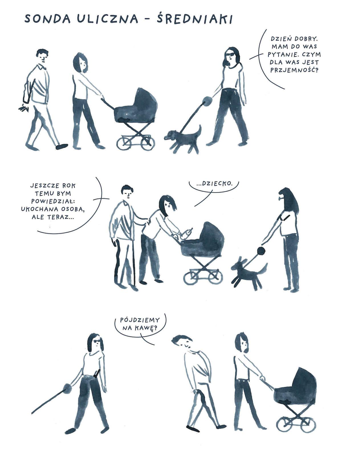 Komiks sondy ulicznej o przyjemności z małżeństwem z dzieckiem.
