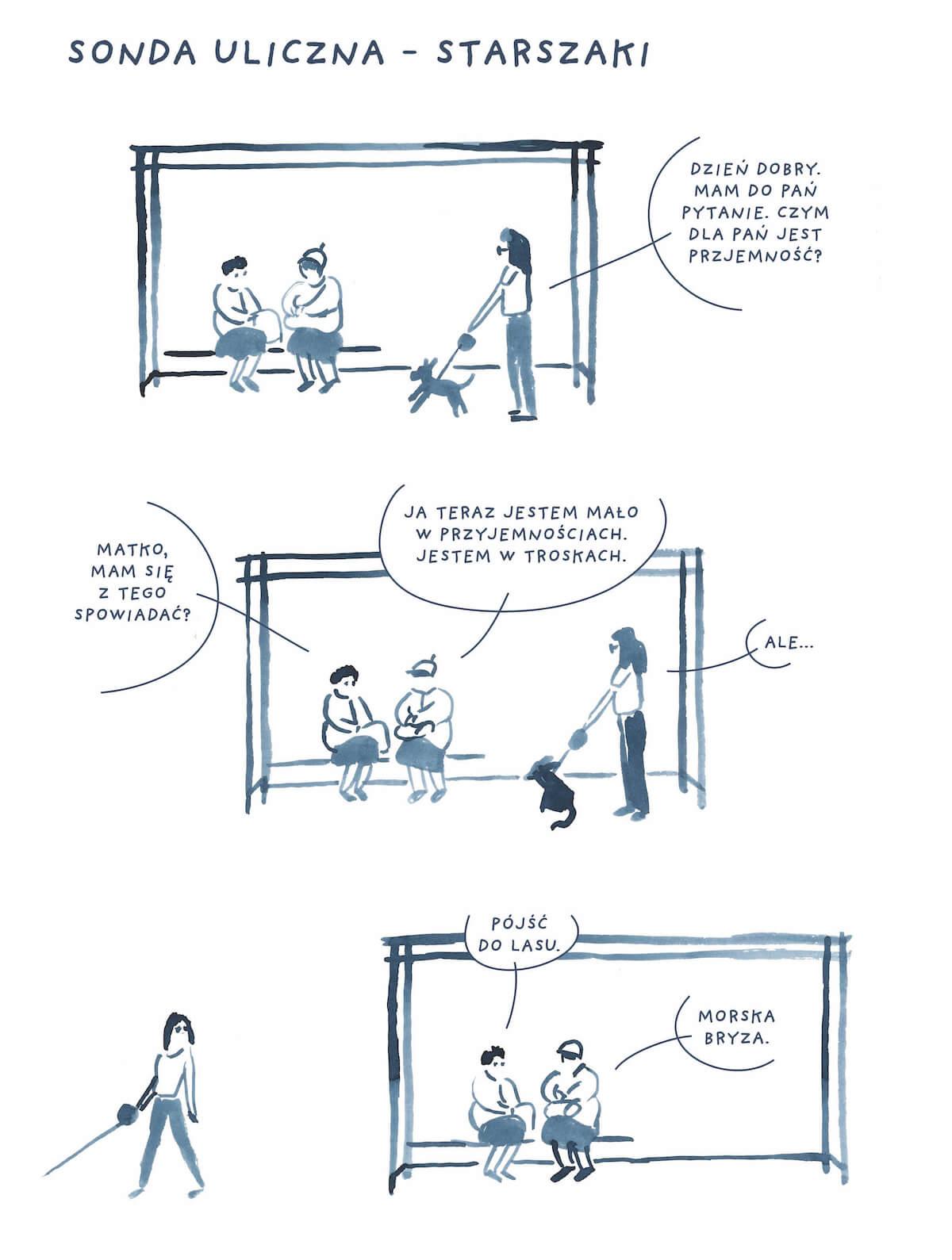 Komiks sondy ulicznej o przyjemności ze starszymi paniami.