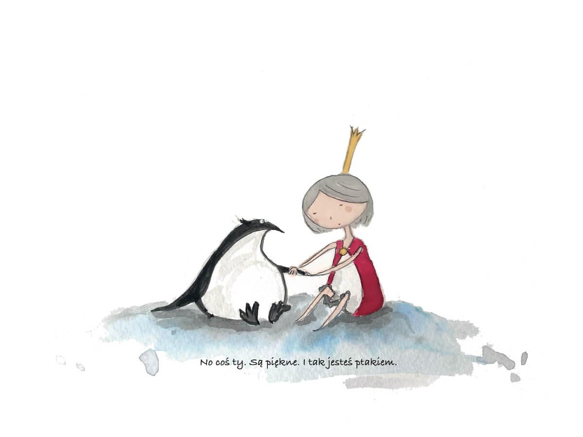 Mała księżniczka pociesza pingwina.