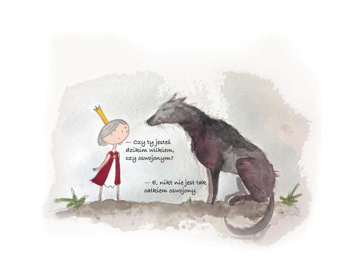 Mała księżniczka rozmawia z wilkiem.