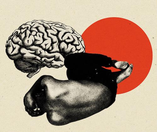 Człowiek w depresji i ludzki mózg na kolażu.