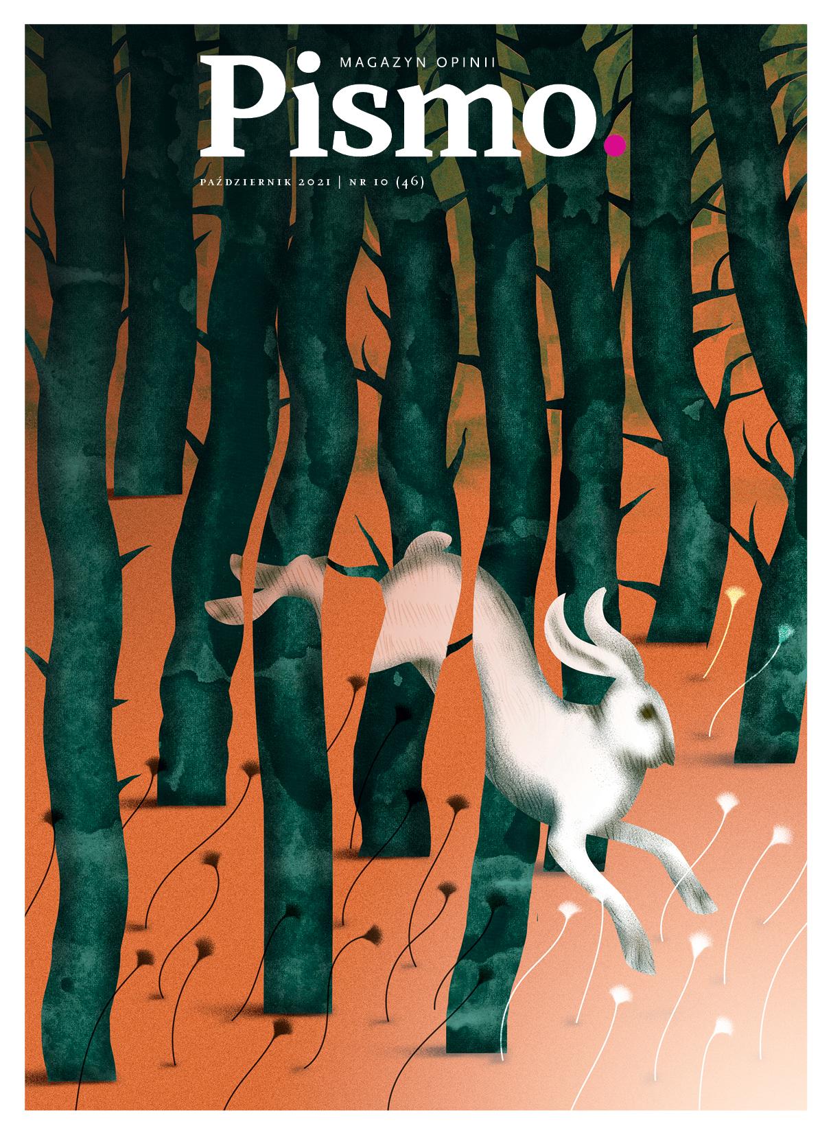 Okładka październikowego numeru Pisma z zającem, który biegnie przez las.